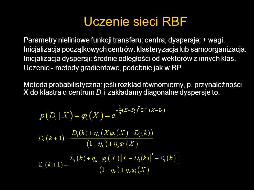 Uczenie sieci RBFParametry nieliniowe funkcji transferu: centra, dyspersje; + wagi.