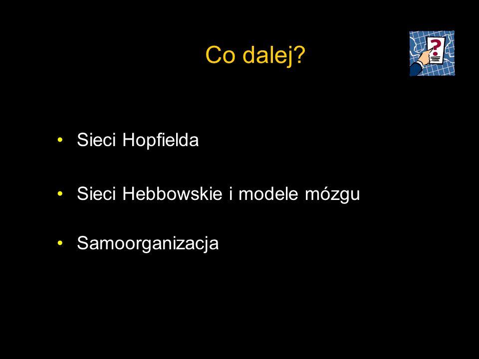 Co dalej Sieci Hopfielda Sieci Hebbowskie i modele mózgu
