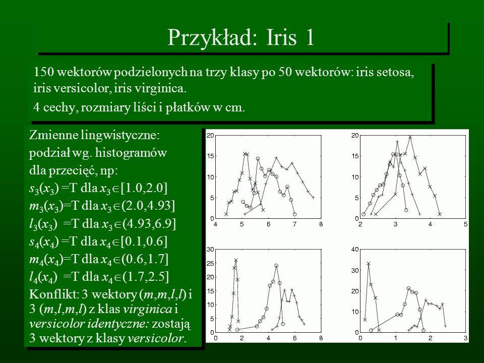Przykład: Iris 1150 wektorów podzielonych na trzy klasy po 50 wektorów: iris setosa, iris versicolor, iris virginica.