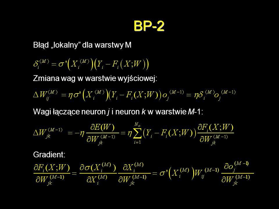 """BP-2 Błąd """"lokalny dla warstwy M Zmiana wag w warstwie wyjściowej:"""