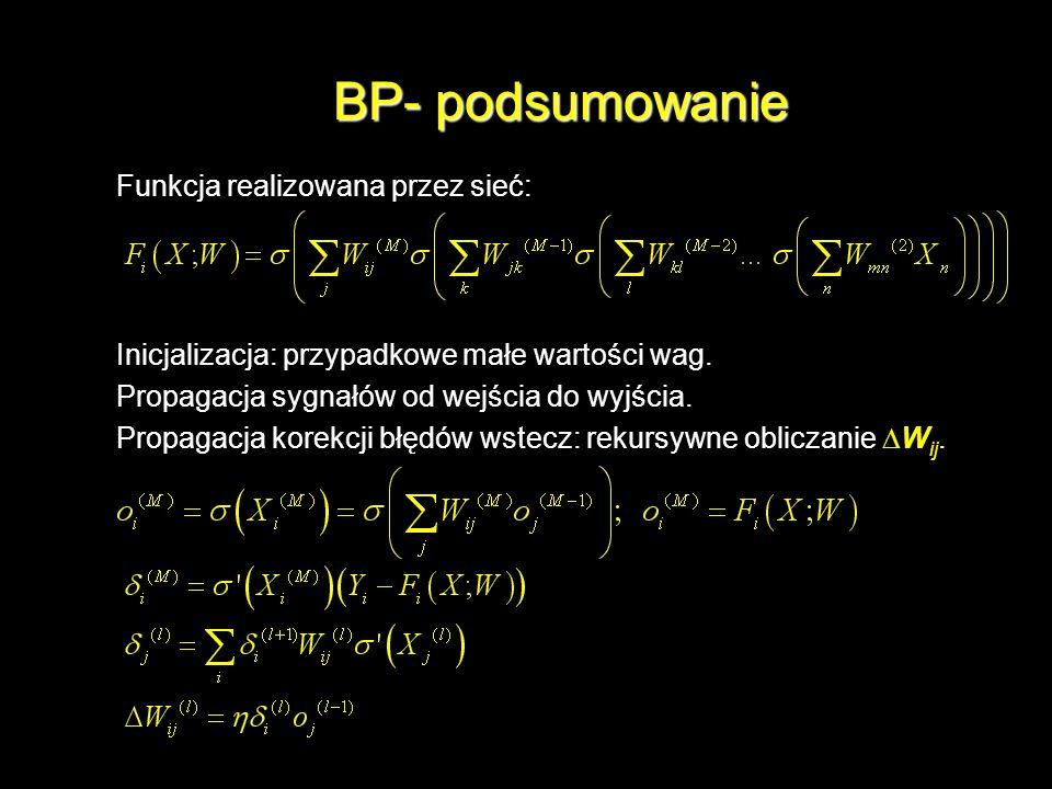 BP- podsumowanie Funkcja realizowana przez sieć: