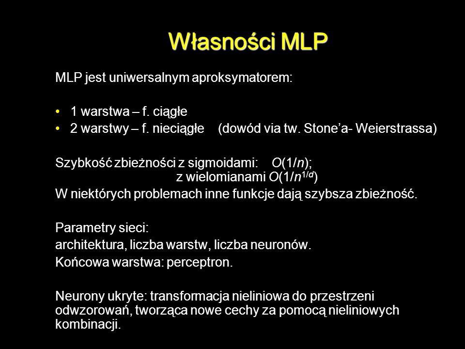 Własności MLP MLP jest uniwersalnym aproksymatorem: