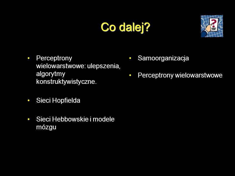 Co dalej Perceptrony wielowarstwowe: ulepszenia, algorytmy konstruktywistyczne. Sieci Hopfielda. Sieci Hebbowskie i modele mózgu.