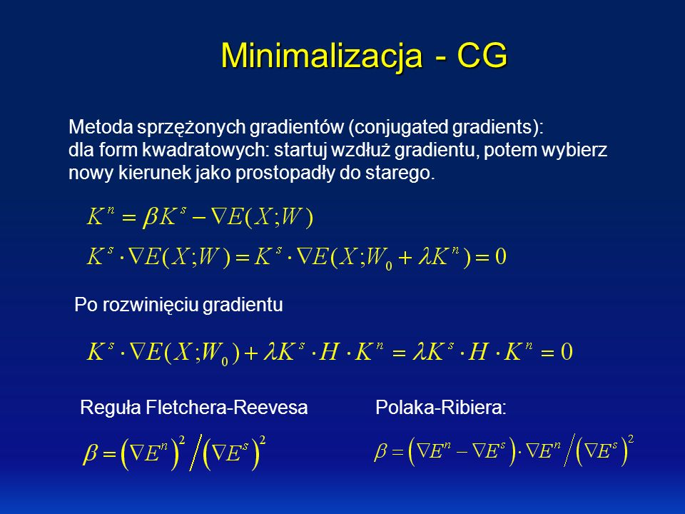 Minimalizacja - CG