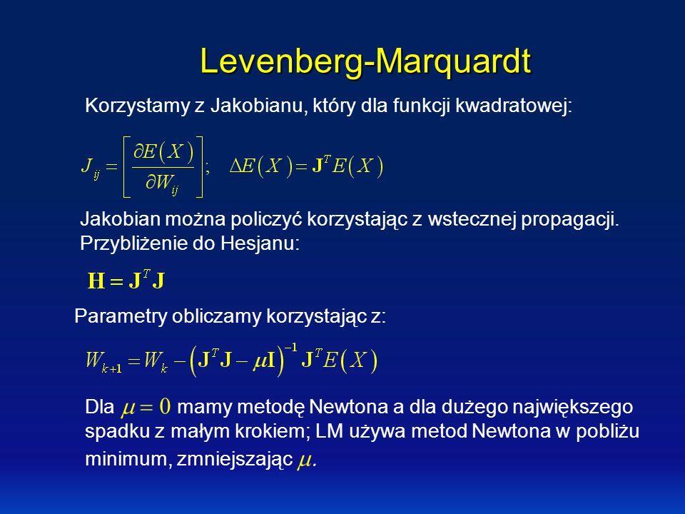 Levenberg-Marquardt Korzystamy z Jakobianu, który dla funkcji kwadratowej: