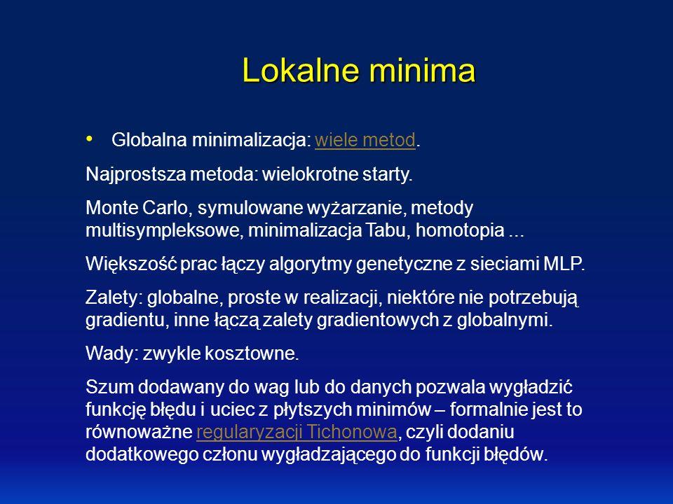 Lokalne minima Globalna minimalizacja: wiele metod.