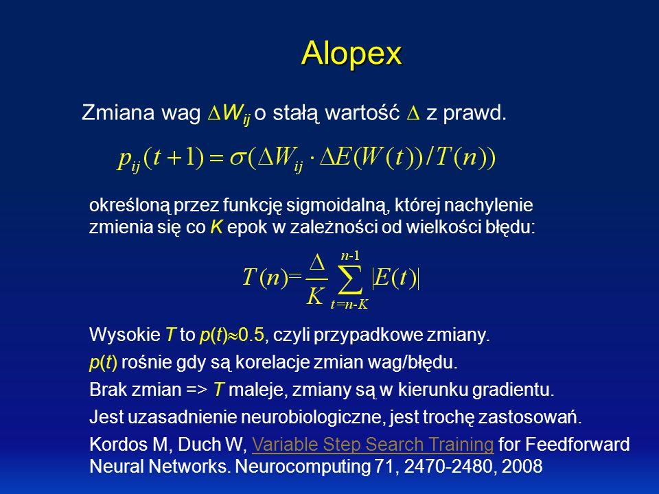 Alopex Zmiana wag DWij o stałą wartość  z prawd.