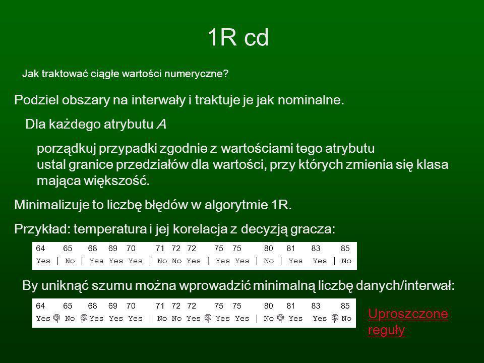 1R cd Podziel obszary na interwały i traktuje je jak nominalne.