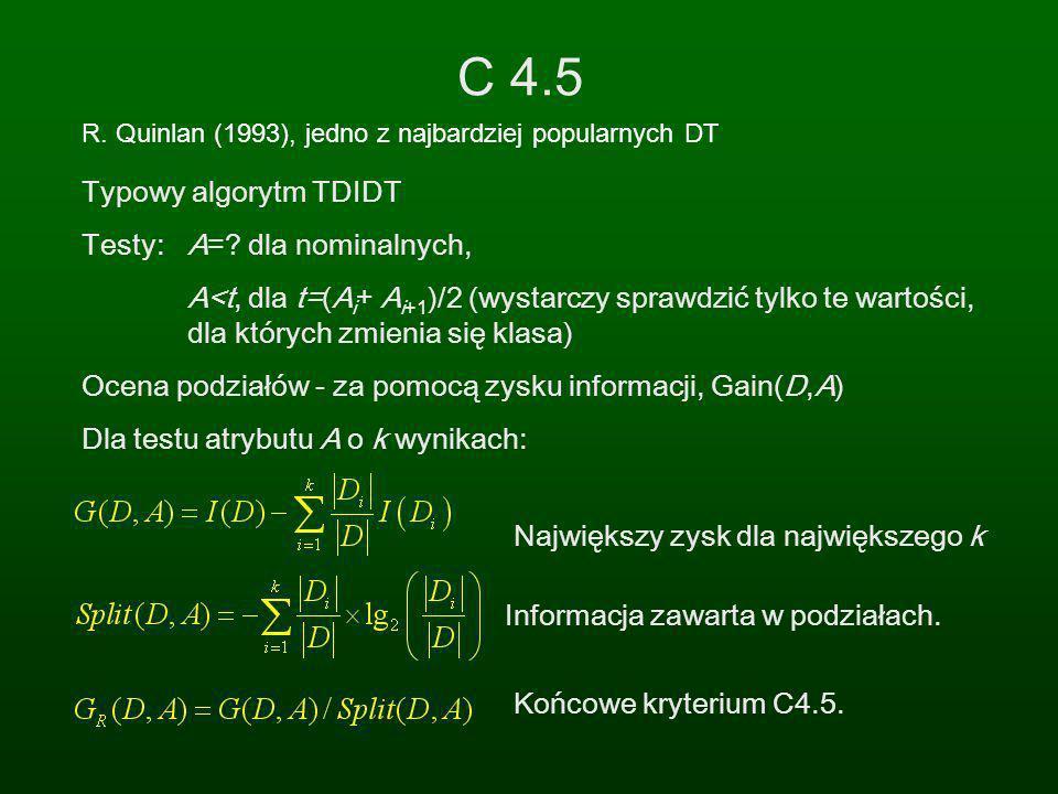C 4.5 Typowy algorytm TDIDT Testy: A= dla nominalnych,