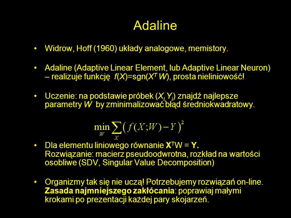 Adaline Widrow, Hoff (1960) układy analogowe, memistory.