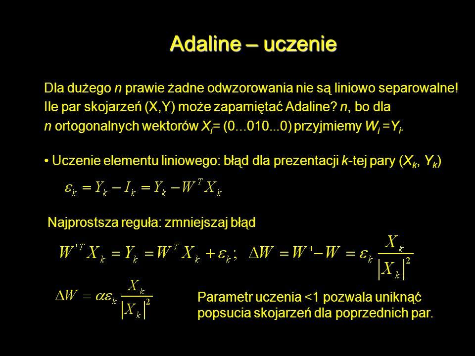 Adaline – uczenie Dla dużego n prawie żadne odwzorowania nie są liniowo separowalne! Ile par skojarzeń (X,Y) może zapamiętać Adaline n, bo dla.
