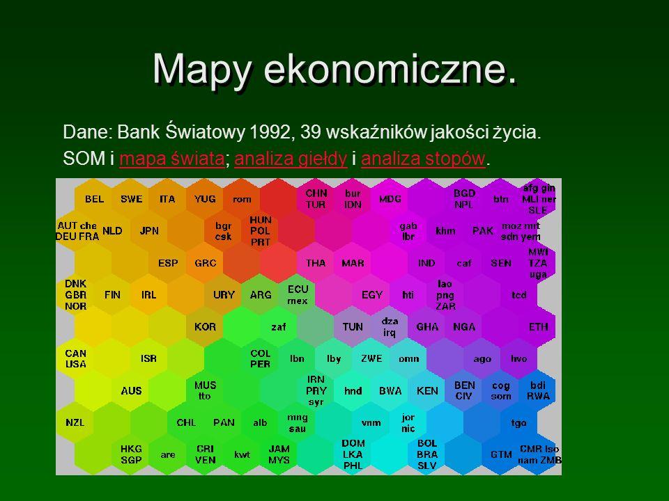 Mapy ekonomiczne. Dane: Bank Światowy 1992, 39 wskaźników jakości życia. SOM i mapa świata; analiza giełdy i analiza stopów.