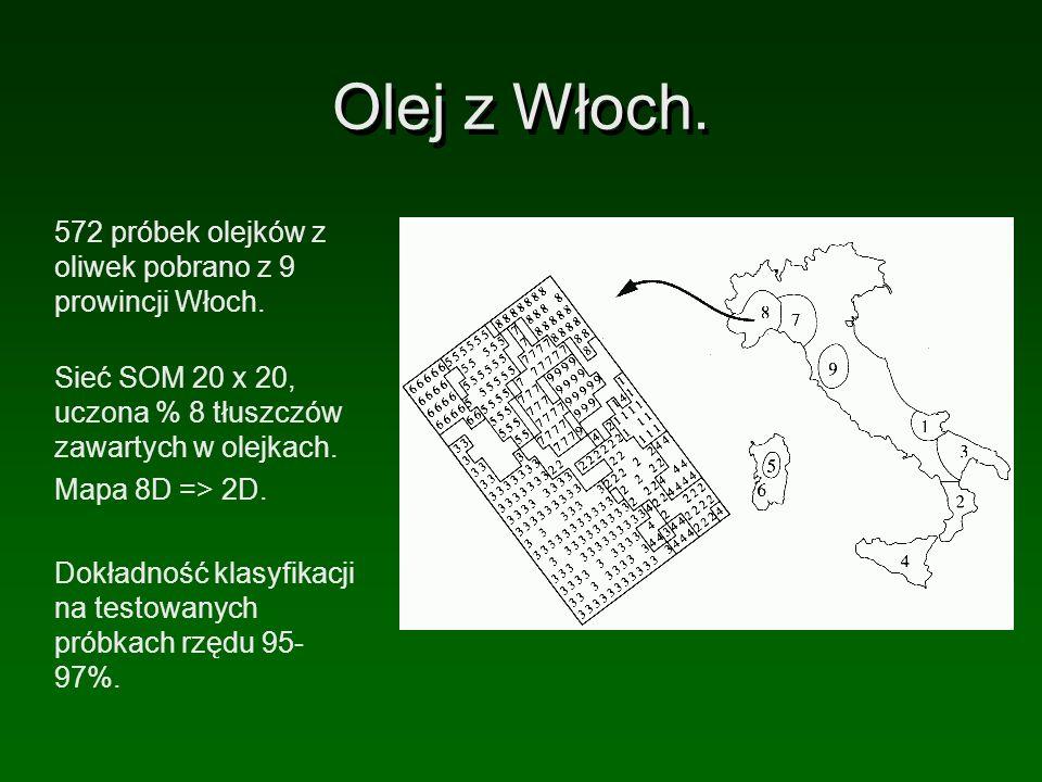 Olej z Włoch. 572 próbek olejków z oliwek pobrano z 9 prowincji Włoch.