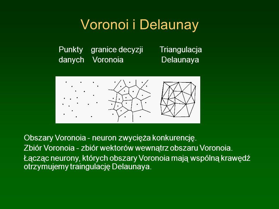 Voronoi i Delaunay Punkty granice decyzji Triangulacja