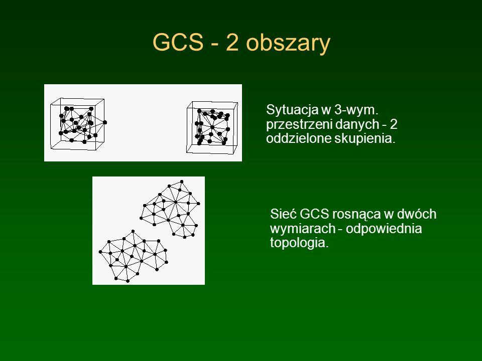 GCS - 2 obszary Sytuacja w 3-wym. przestrzeni danych - 2 oddzielone skupienia. Sieć GCS rosnąca w dwóch wymiarach - odpowiednia topologia.