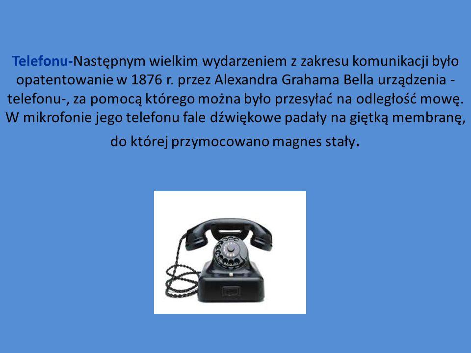 Telefonu-Następnym wielkim wydarzeniem z zakresu komunikacji było opatentowanie w 1876 r.