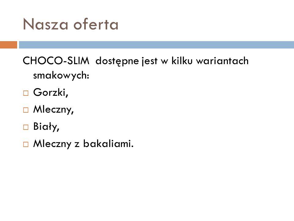 Nasza oferta CHOCO-SLIM dostępne jest w kilku wariantach smakowych: