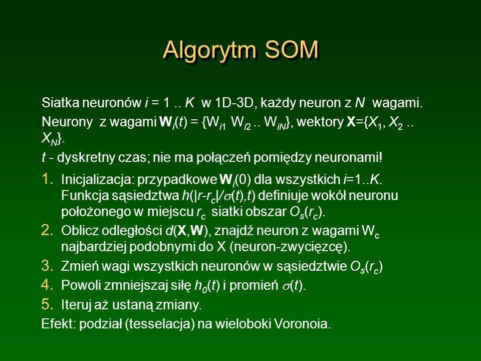 Algorytm SOM Siatka neuronów i = 1 .. K w 1D-3D, każdy neuron z N wagami. Neurony z wagami Wi(t) = {Wi1 Wi2 .. WiN}, wektory X={X1, X2 .. XN}.
