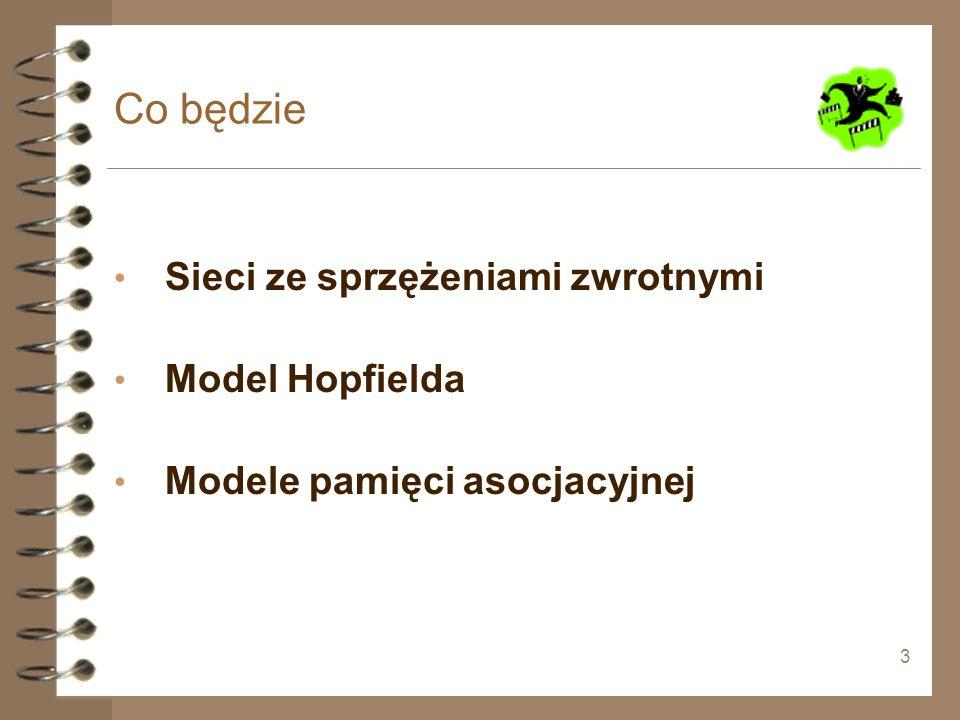Co będzie Sieci ze sprzężeniami zwrotnymi Model Hopfielda