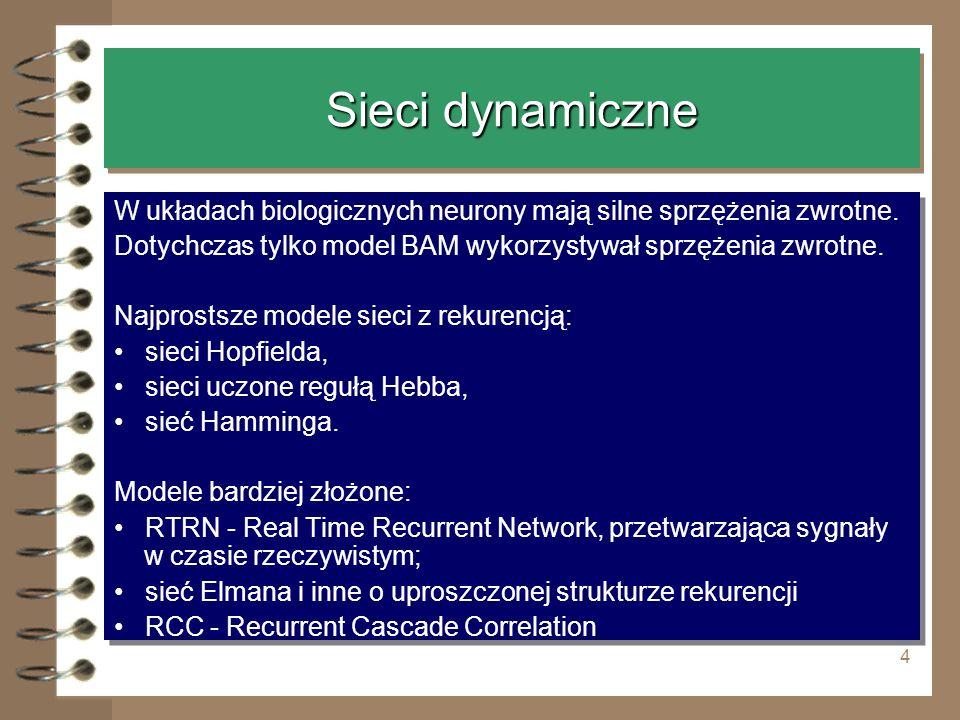 Sieci dynamiczne W układach biologicznych neurony mają silne sprzężenia zwrotne. Dotychczas tylko model BAM wykorzystywał sprzężenia zwrotne.