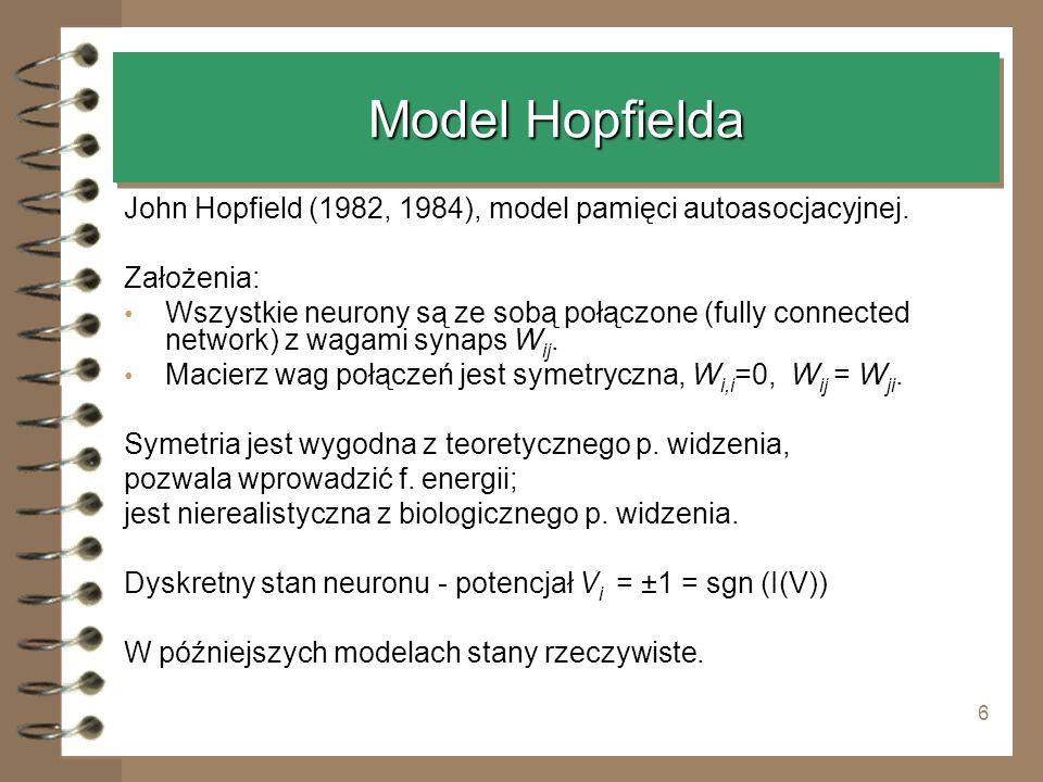 Model Hopfielda John Hopfield (1982, 1984), model pamięci autoasocjacyjnej. Założenia: