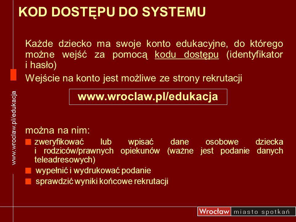 KOD DOSTĘPU DO SYSTEMU www.wroclaw.pl/edukacja