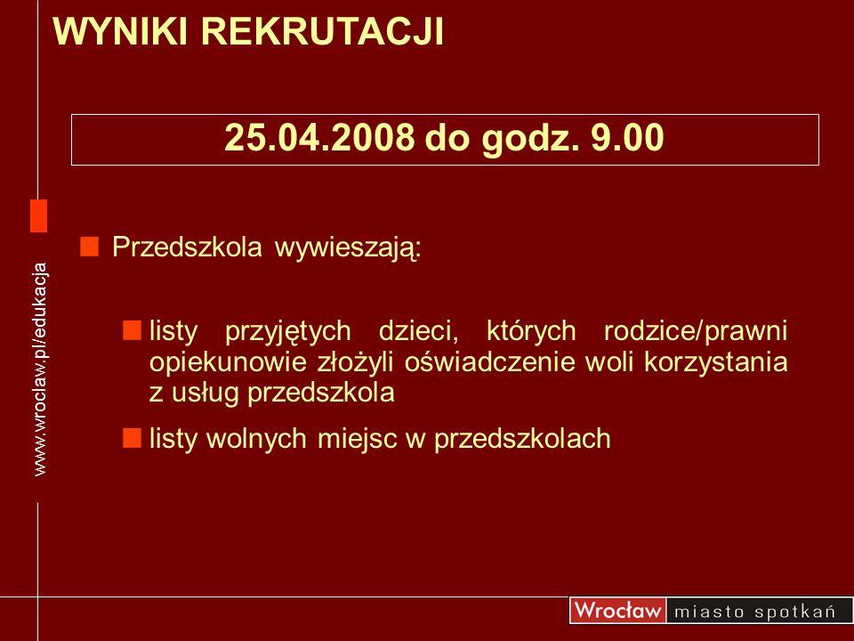 WYNIKI REKRUTACJI 25.04.2008 do godz. 9.00 Przedszkola wywieszają: