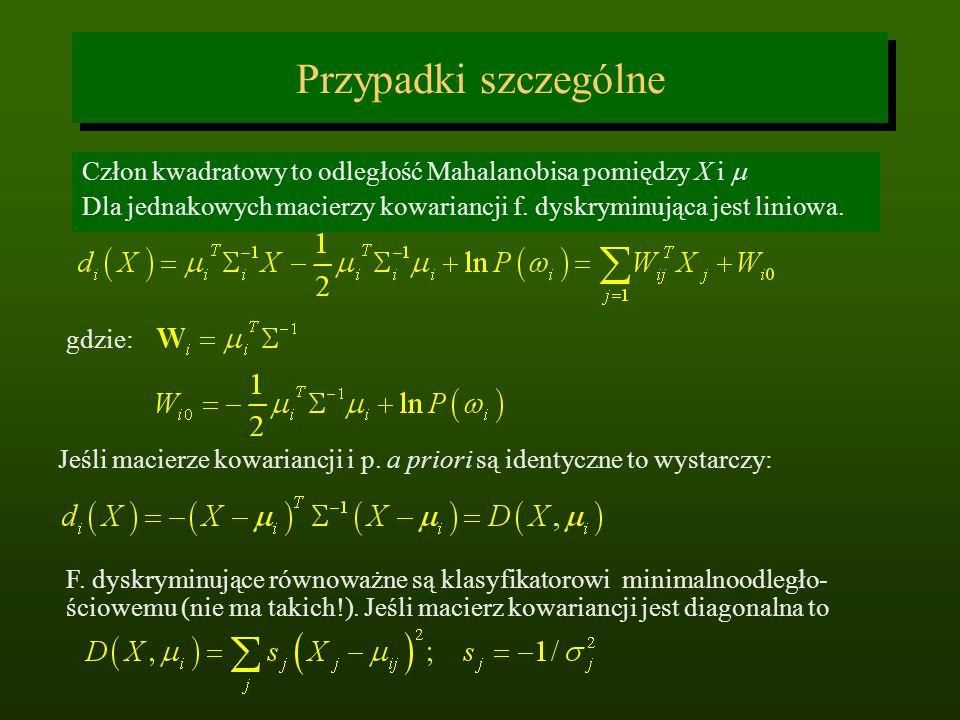 Przypadki szczególne Człon kwadratowy to odległość Mahalanobisa pomiędzy X i m. Dla jednakowych macierzy kowariancji f. dyskryminująca jest liniowa.