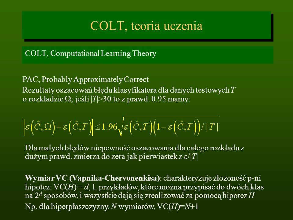 COLT, teoria uczenia COLT, Computational Learning Theory