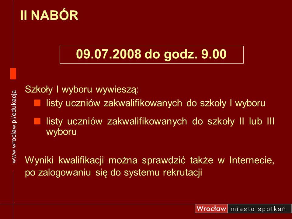 II NABÓR 09.07.2008 do godz. 9.00 Szkoły I wyboru wywieszą: