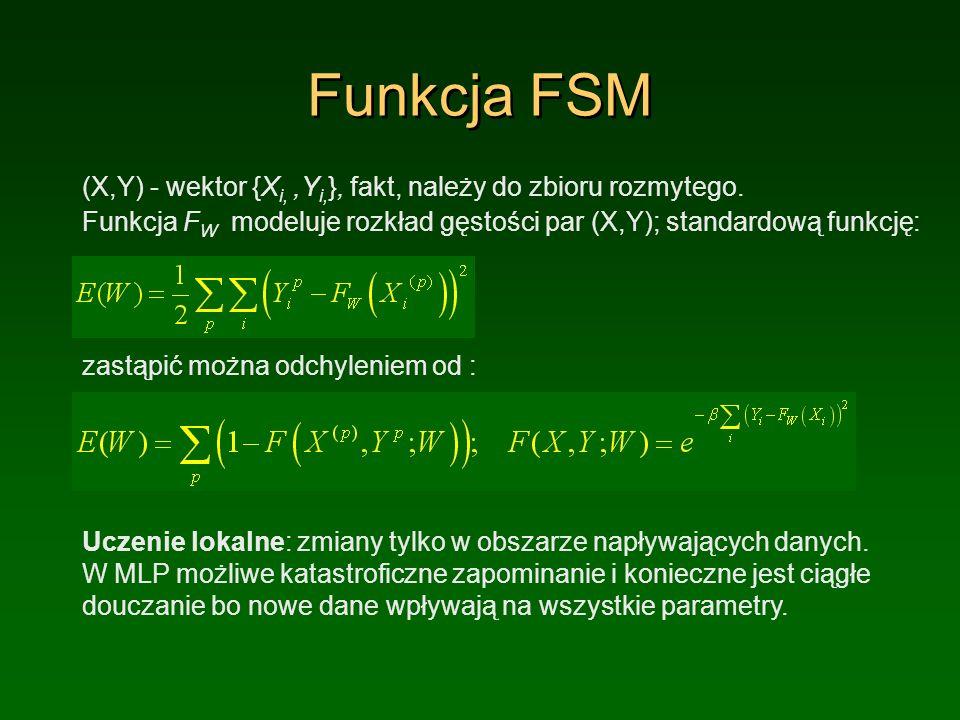Funkcja FSM (X,Y) - wektor {Xi, ,Yi,}, fakt, należy do zbioru rozmytego. Funkcja FW modeluje rozkład gęstości par (X,Y); standardową funkcję: