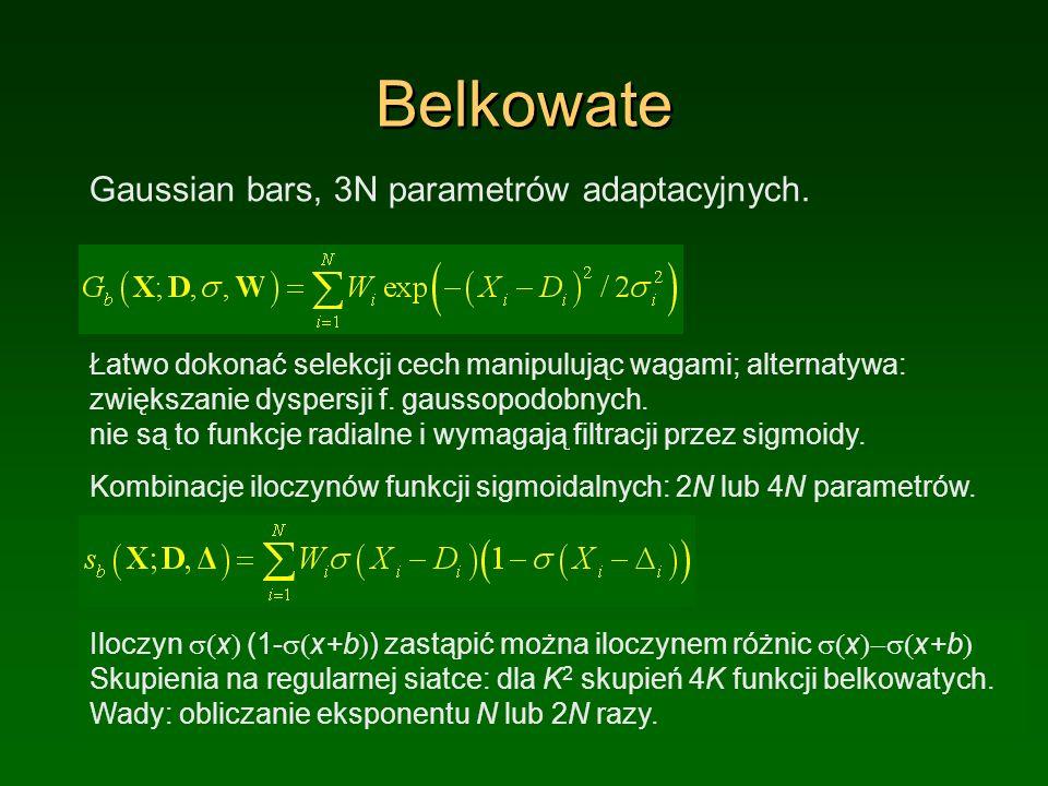 Belkowate Gaussian bars, 3N parametrów adaptacyjnych.