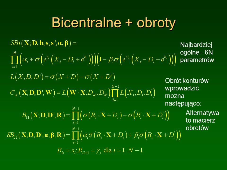 Bicentralne + obroty Najbardziej ogólne - 6N parametrów.