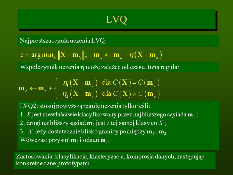 LVQ Najprostsza reguła uczenia LVQ: