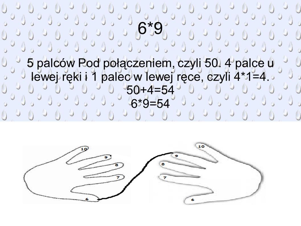 6*9 5 palców Pod połączeniem, czyli 50. 4 palce u lewej ręki i 1 palec w lewej ręce, czyli 4*1=4. 50+4=54.