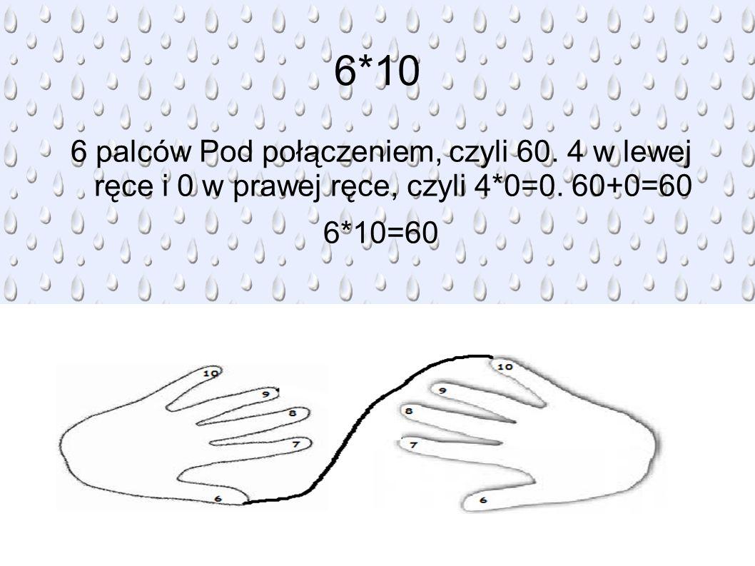 6*10 6 palców Pod połączeniem, czyli 60. 4 w lewej ręce i 0 w prawej ręce, czyli 4*0=0.