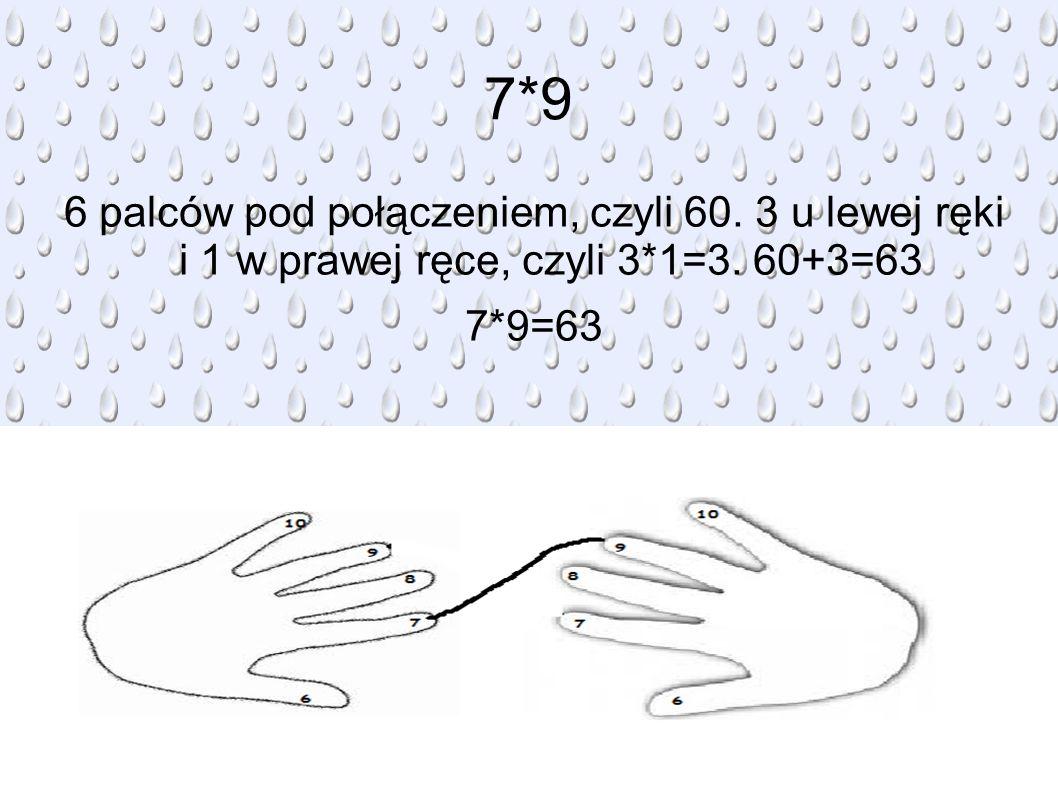 7*9 6 palców pod połączeniem, czyli 60. 3 u lewej ręki i 1 w prawej ręce, czyli 3*1=3.
