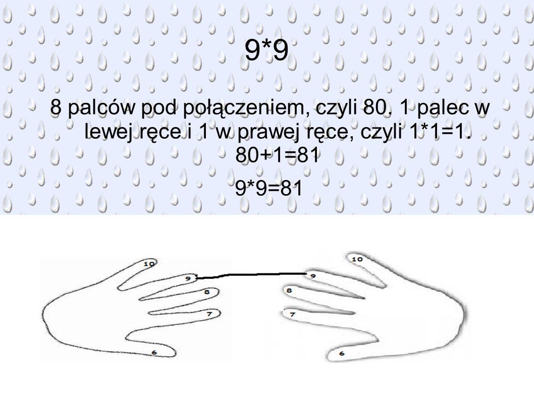 9*9 8 palców pod połączeniem, czyli 80. 1 palec w lewej ręce i 1 w prawej ręce, czyli 1*1=1. 80+1=81.