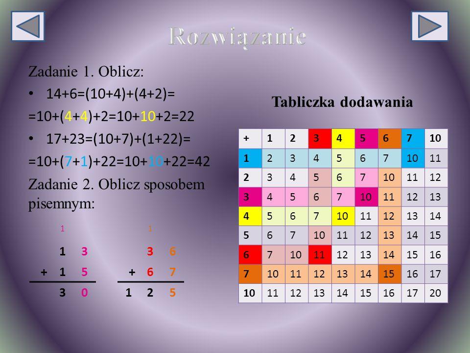 Rozwiązanie Zadanie 1. Oblicz: 14+6=(10+4)+(4+2)=