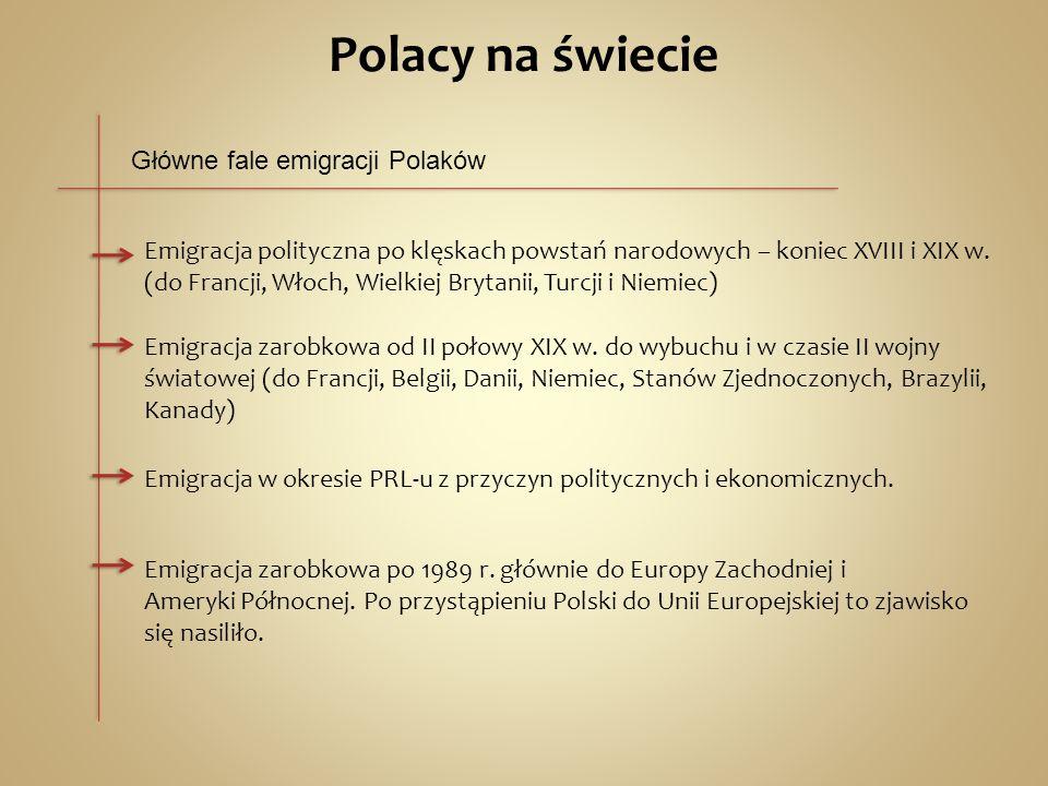 Polacy na świecie Główne fale emigracji Polaków