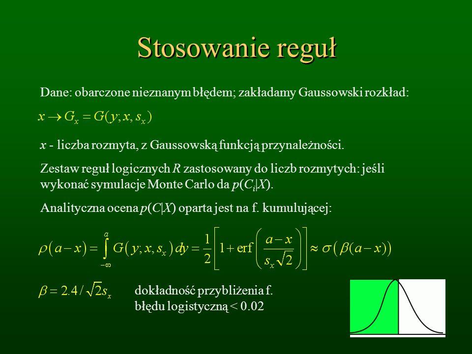 Stosowanie reguł Dane: obarczone nieznanym błędem; zakładamy Gaussowski rozkład: x - liczba rozmyta, z Gaussowską funkcją przynależności.