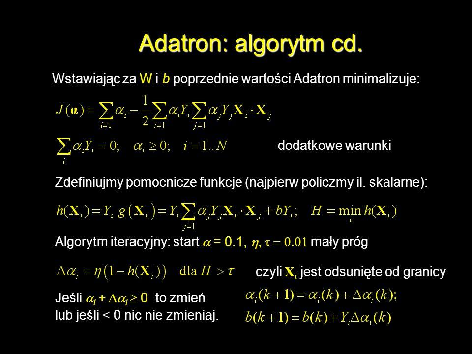 Adatron: algorytm cd.Wstawiając za W i b poprzednie wartości Adatron minimalizuje: dodatkowe warunki.
