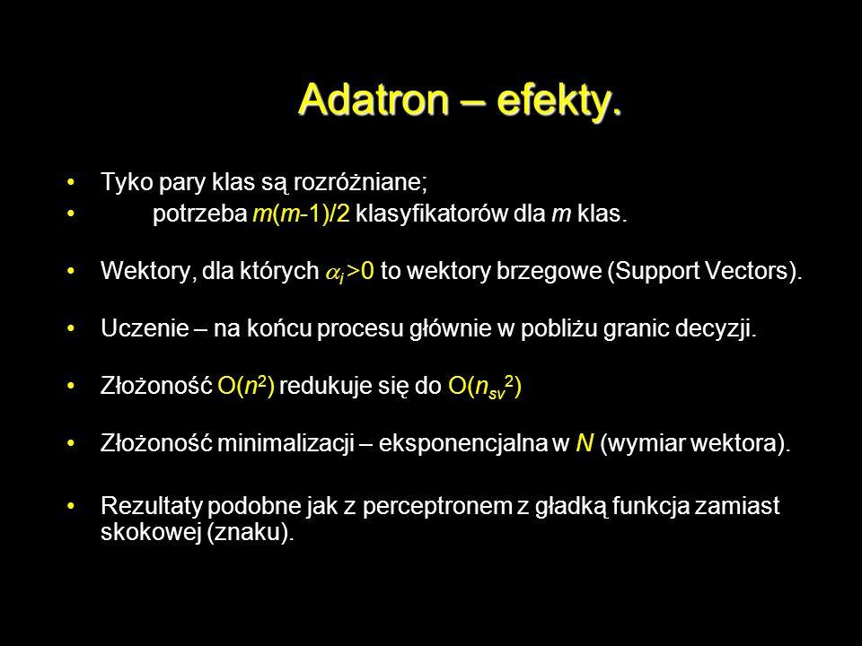 Adatron – efekty. Tyko pary klas są rozróżniane;