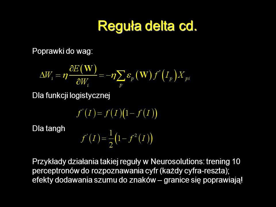Reguła delta cd. Poprawki do wag: Dla funkcji logistycznej Dla tangh