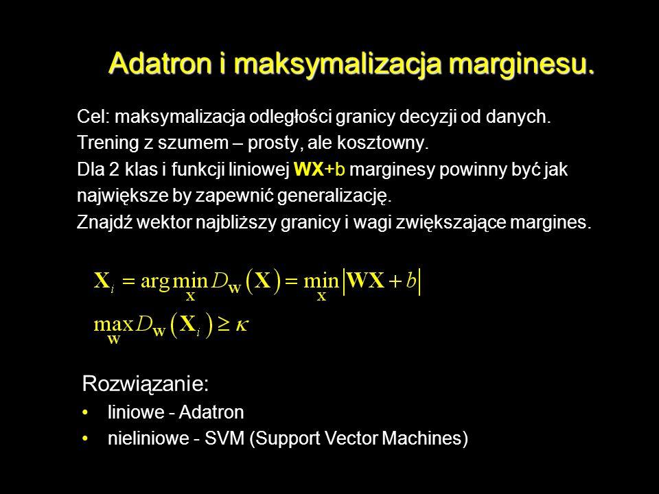 Adatron i maksymalizacja marginesu.