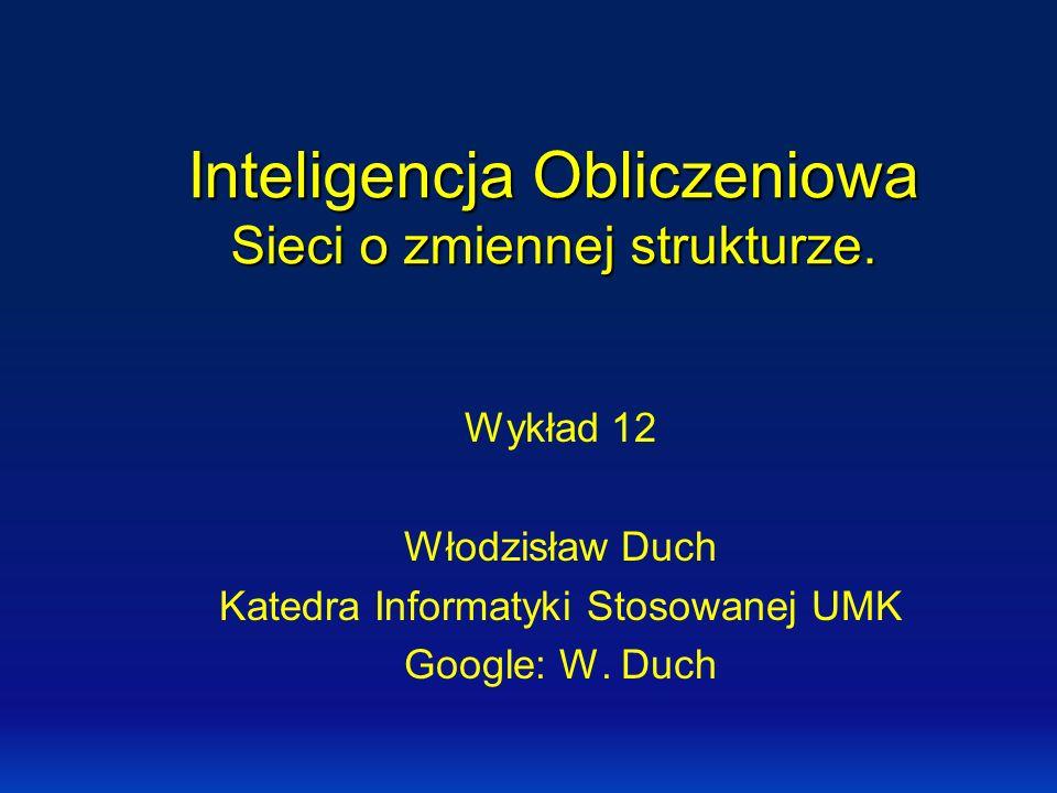 Inteligencja Obliczeniowa Sieci o zmiennej strukturze.