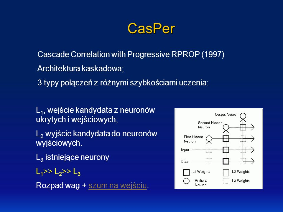 CasPer Cascade Correlation with Progressive RPROP (1997)
