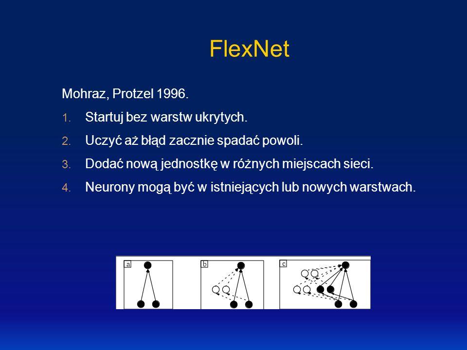 FlexNet Mohraz, Protzel 1996. Startuj bez warstw ukrytych.