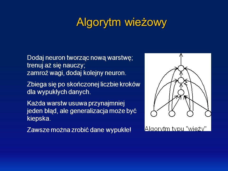 Algorytm wieżowy Dodaj neuron tworząc nową warstwę; trenuj aż się nauczy; zamroź wagi, dodaj kolejny neuron.