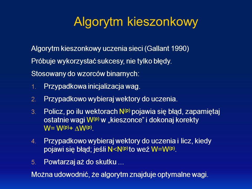 Algorytm kieszonkowy Algorytm kieszonkowy uczenia sieci (Gallant 1990)